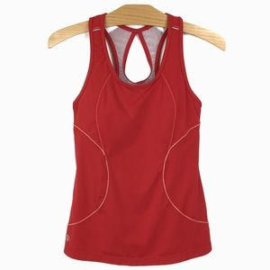 Athleta Energy Racerback Tank Red Back Pouch Zip S